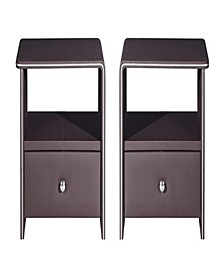 Leather Upholstered Wooden Nightstands with Storage Space, Set of 2