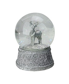 Silver-Tone Glittered Reindeer Snow Globe Glitterdome Christmas Decoration