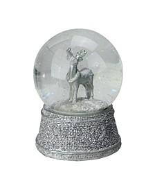 "5.5"" Silver Glittered Reindeer Snow Globe Glitterdome Christmas Decoration"