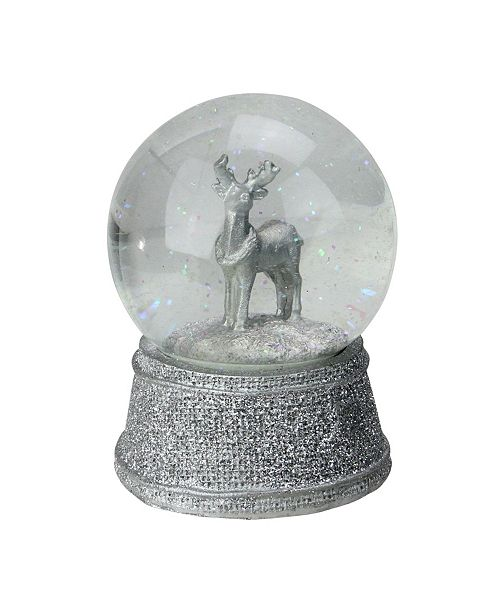"Northlight 5.5"" Silver Glittered Reindeer Snow Globe Glitterdome Christmas Decoration"