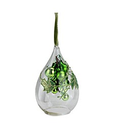 "6"" Green Grape Cluster in Teardrop Cloche Christmas Ornament"