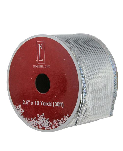 "Northlight Shimmery Silver Horizontal Wired Christmas Craft Ribbon 2.5"" x 10 Yards"
