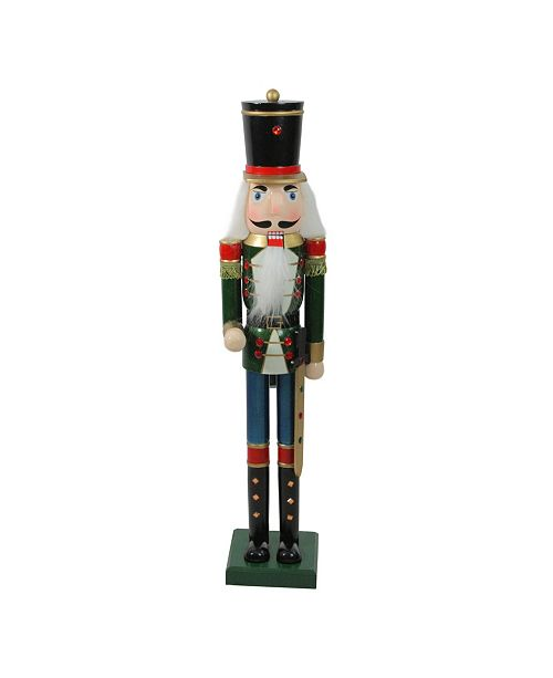 "Northlight 36.75"" Green and Blue Glittered Wooden Christmas Nutcracker Soldier with Sword"