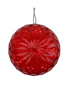 """6"""" Red LED Christmas Crystal Sphere Hanging Outdoor Decoration"""