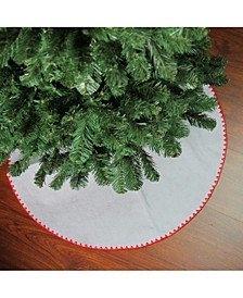 """26"""" White with Red Shell Stitching Mini Christmas Tree Skirt"""