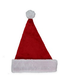 "16"" Traditional Red and White Plush Christmas Santa Hat - Adult Size Small"