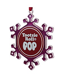 """3.5"""" Silver Plated Pink Snowflake Tootsie Roll Pop Candy Logo Christmas Ornament with European Crystals"""