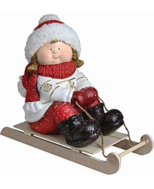 """8.5"""" Christmas Morning Red White Girl on a Sled Decorative Christmas Tabletop Figure"""