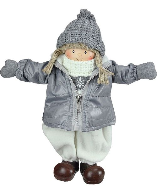 """Northlight 12"""" Gray and White Cheerful Standing Girl Christmas Tabletop Decoration"""