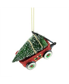 """4.5"""" Red Green and Black Glittered Glass Wagon with Tree Christmas Ornament"""