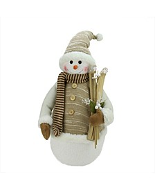 "20"" Alpine Chic Brown and Beige Snowman with Skiis and Mistletoe Christmas Decoration"