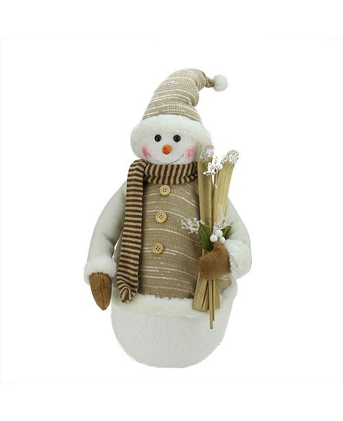 """Northlight 20"""" Alpine Chic Brown and Beige Snowman with Skiis and Mistletoe Christmas Decoration"""