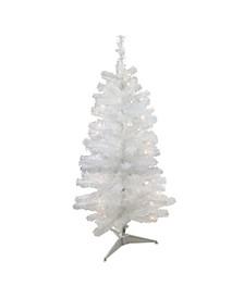 "4' x 23.5"" Pre-Lit Slim White Artificial Tinsel Christmas Tree- Clear Lights"