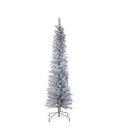 6' Silver Tinsel Artificial Pencil Christmas Tree - Unlit