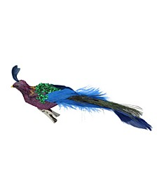"8"" Purple Blue and Green Sequins Peacock Bird Clip-On Christmas Ornament"