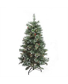 """4' x 27"""" Pre-Lit Frosted Mixed Pine Medium Artificial Christmas Tree - Clear Lights"""