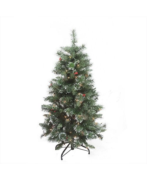 """Northlight 4' x 27"""" Pre-Lit Frosted Mixed Pine Medium Artificial Christmas Tree - Clear Lights"""