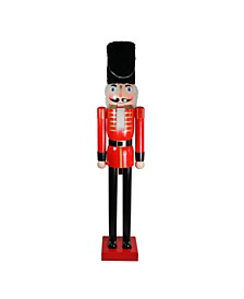 6' Giant Commercial Size Wooden Red and Black Christmas Nutcracker Soldier