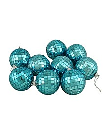 "9ct Peacock Blue Mirrored Glass Disco Ball Christmas Ornaments 2.5"" 60mm"