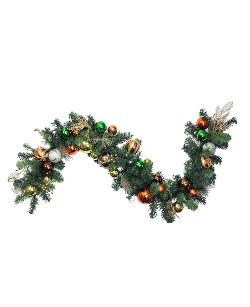Northlight 6' Green Foliage and Assorted Copper Ornaments Garland - Unlit