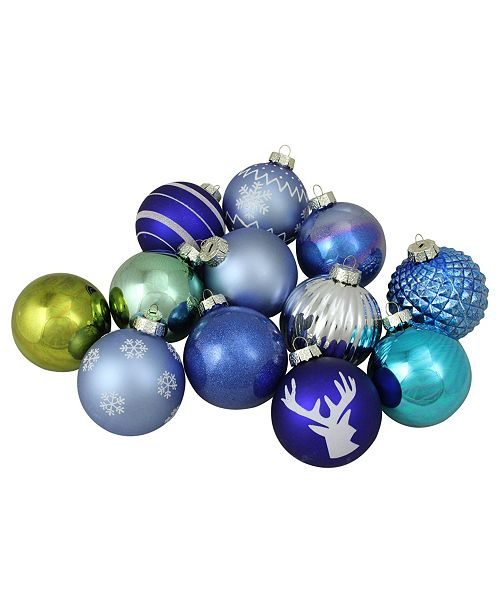 """Northlight 12-Piece Set of Blue Silver and Green Multi-Patterned Christmas Ball Ornaments 4"""" 100mm"""