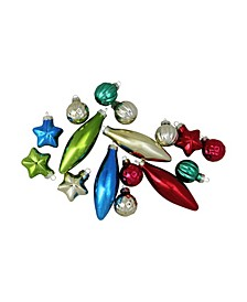 """16-Piece Set of Multi-Color Finial Ball and Star Shaped Christmas Ornaments 4"""" 100mm"""
