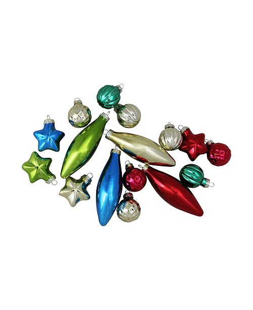 Northlight 12-Piece Set of Blue Silver and Green Multi-Patterned Christmas Ball Ornaments 4""