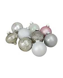 "9ct Silver and Pink Multi-Finish Ball and Onion Shaped Christmas Ornaments 4"" 100mm"