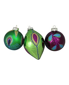 3ct Peacock Ball Design Glass Christmas Ornament Set