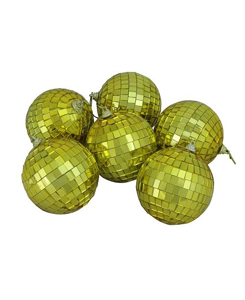 "Northlight 6ct Gold Mirrored Glass Disco Ball Christmas Ornaments 3.25"" 80mm"