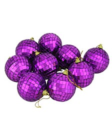 "9ct Purple Mirrored Glass Disco Ball Christmas Ornaments 2.5"" 60mm"
