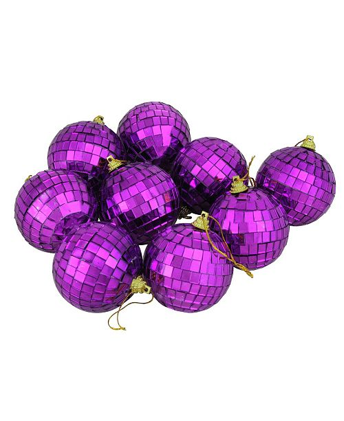 "Northlight 9ct Purple Mirrored Glass Disco Ball Christmas Ornaments 2.5"" 60mm"