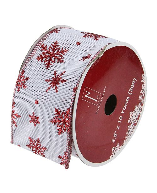 "Northlight Pack of 12 White and Red Snowflakes Burlap Wired Christmas Craft Ribbon Spools - 2.5"" x 120 Yards Total"