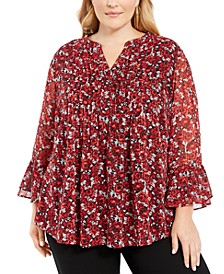 Plus Size Pintuck-Pleated Top, Created For Macy's