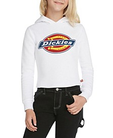 Big Girls Cropped Fleece Hoodie with Tri Color Icon Logo