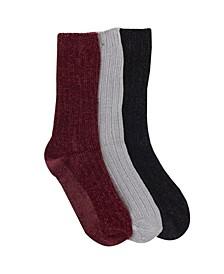 Chenille Sock, 3 Pack