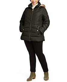 Michael Michael Kors Plus Size Faux-Fur-Trim Hooded Puffer Coat, Created for Macy's