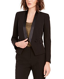 Tuxedo Satin-Trim Open-Front Double-Breasted Blazer, Created For Macy's