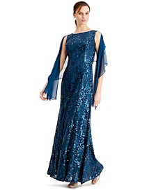 Sequined Gown & Shawl