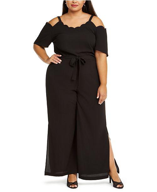 Monteau Trendy Plus Size Scalloped Jumpsuit