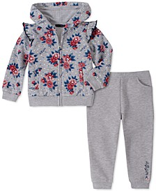 Little Girls 2-Pc. Floral-Print Fleece Hoodie & Jogger Pants Set