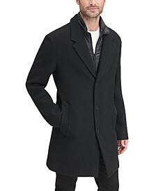 Men's Top Coat with Removable Quilted Bib, Created for Macy's