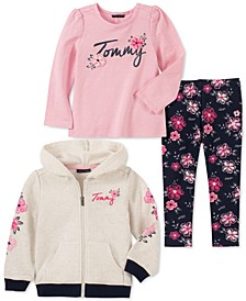 Little Girls 3-Pc. Fleece Hoodie, Logo Top & Floral-Print Leggings Set