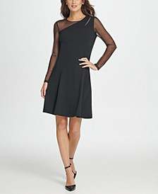Mesh Combo Fit & Flare Dress