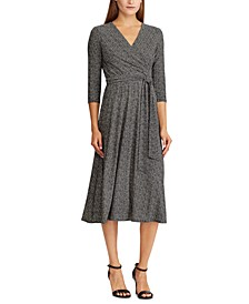 Herringbone Jersey Surplice Dress