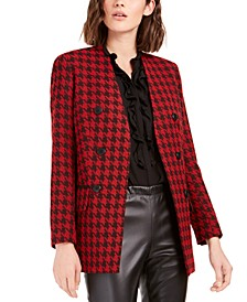 Houndstooth Collarless Double-Breasted Jacket, Created For Macy's