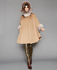 Hooded Fox-Fur-Trim Cape