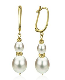 White Cultured Pearl (16 mm) Dangle Earrings in 14k Yellow Gold