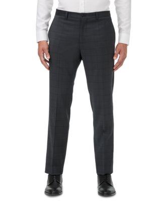 Men's Slim-Fit Dark Gray Windowpane Suit Separate Pants