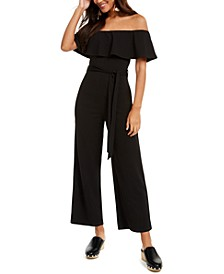 Crave Fame Juniors' Ruffled Off-The-Shoulder Jumpsuit